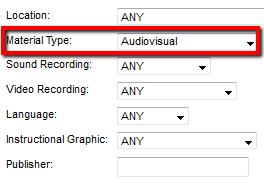 Audiovisual materials in catalog