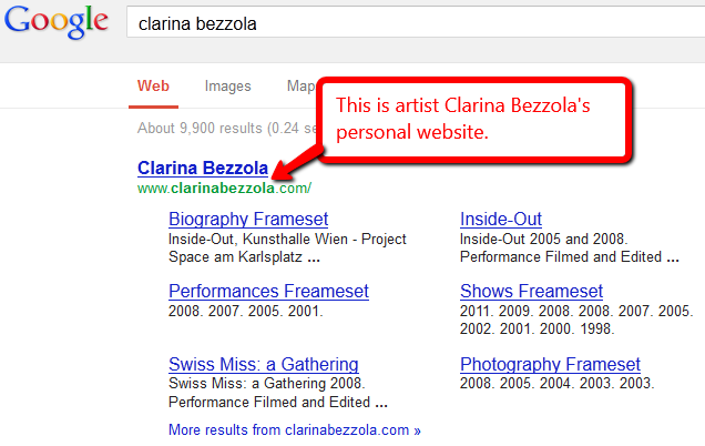 The artist Clarina Bezzola's personal website comes up first in a Google search for her name