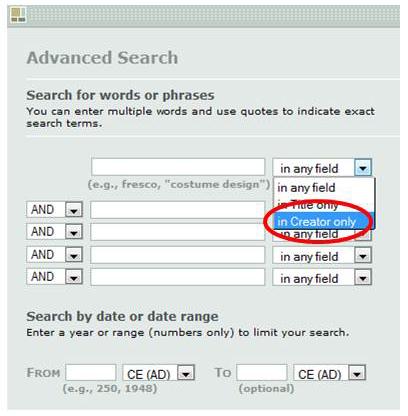 Advanced search in ARTstor