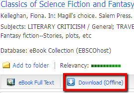 The Download button appears beneath the title and author on the search results screen