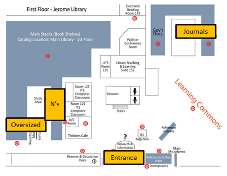First Floor Map. Journals are in the southwest corner. Art books are in the middle on the north side.