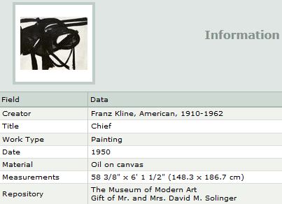 Information about Kline painting from Artstor