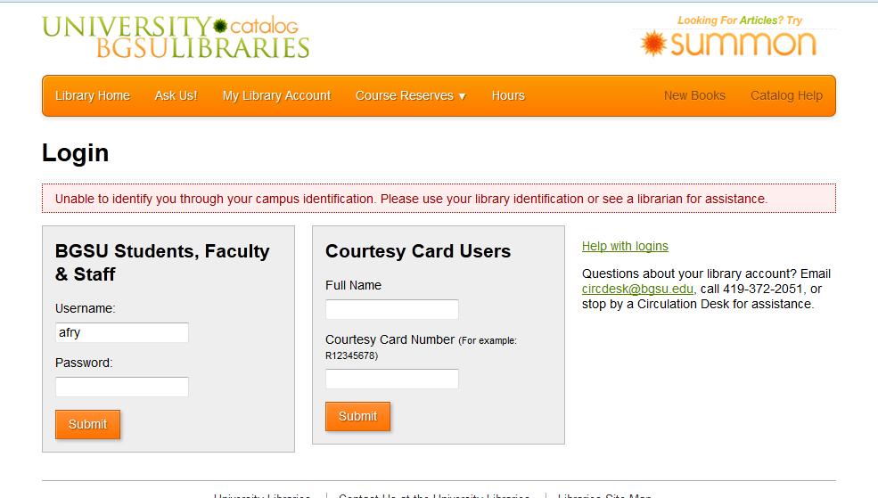 Catalog login error screen