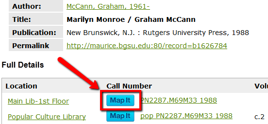 The Map It button appears in the catalog next to the call number.