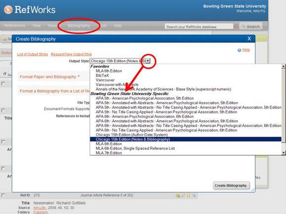 Legacy RefWorks highlighting the bibliography button and options to create the bibliography