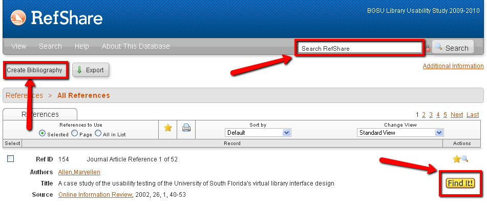 RefShare screen highlighting the search and bibliography creation tool