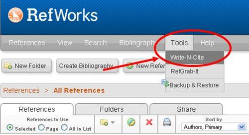 Legacy RefWorks highlighting Write-N-Cite under tools