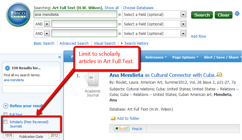 Limit your EBSCO search to scholarly articles by using the limiter on the left side on the search results page.