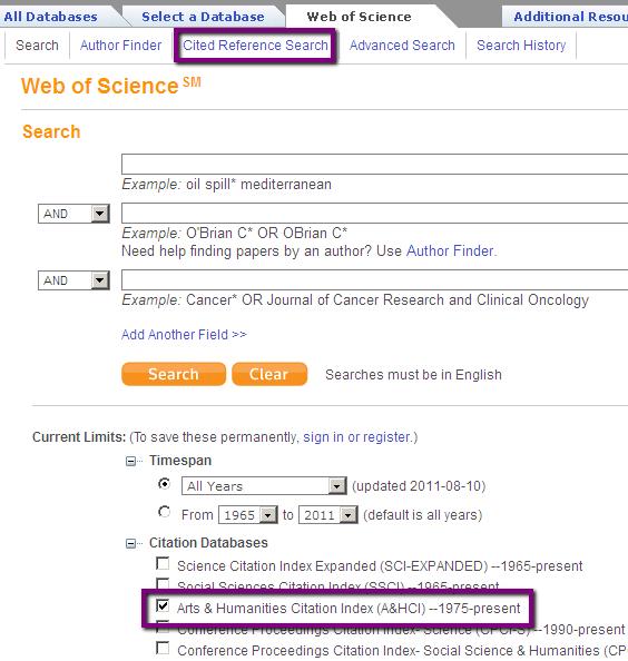 Web of Science screenshot