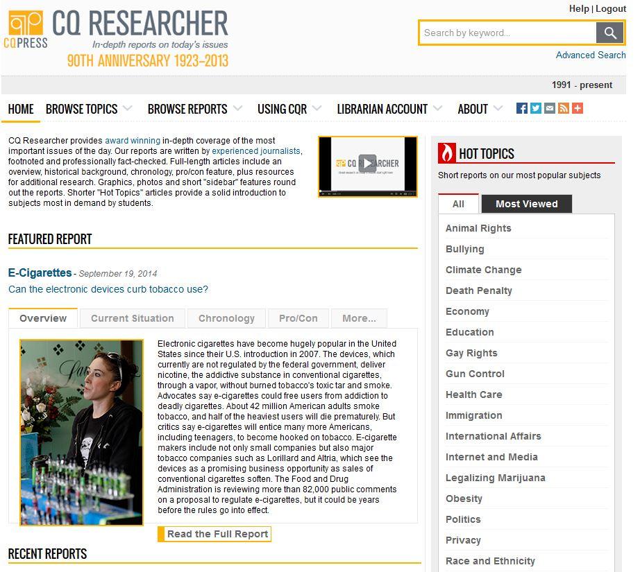 CQ Researcher interface