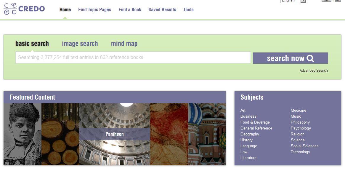 Credo search interface