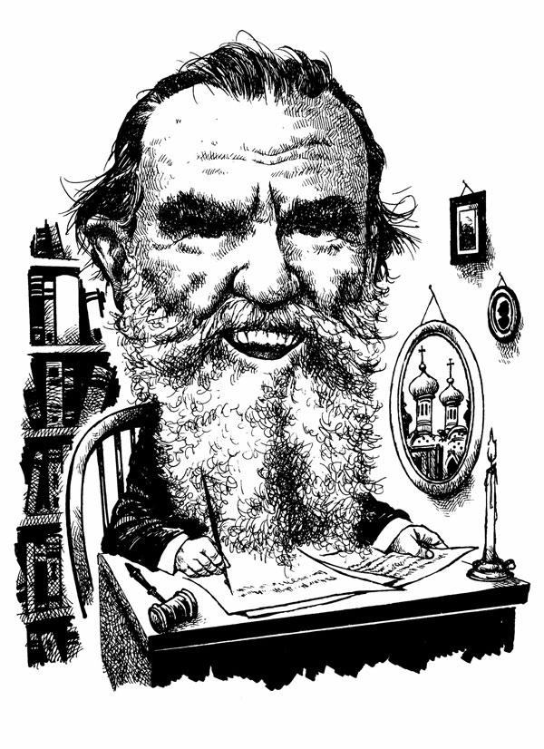 Leo Tolstoy caricature by John Sherrfius
