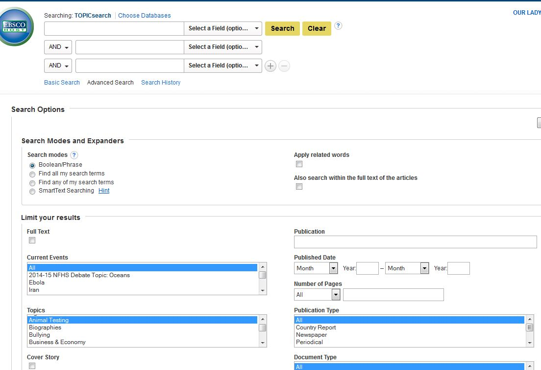 Ebsco TopicSearch interface