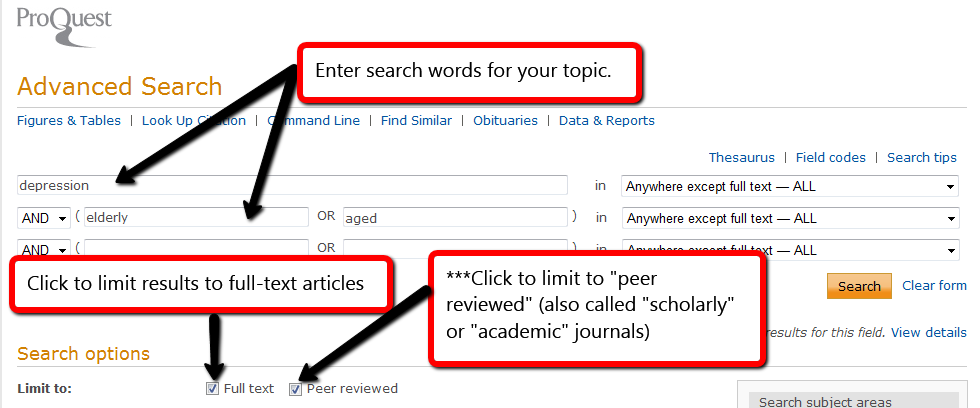 This image shows a screeshot of the database search page, showing how you can search by topic or keyword in the search boxes provided, and how you can then check a box to limit to full-text and to scholarly journals