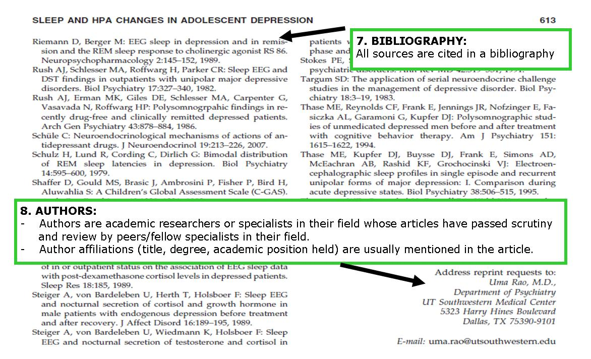 This is a screenshot of a journal article pointing out the citations and author section and includes the text from points 7 and 8