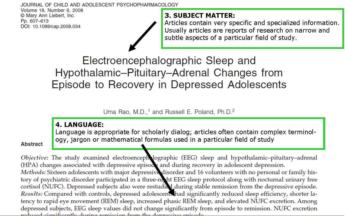 this image is a screenshot of a journal article, pointing out the complex language in the article and includes the text in points 3 and 4