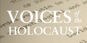 """image of the words """"voices of the Holocaust"""""""