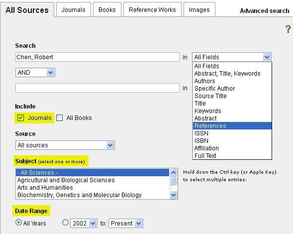 ScienceDirect advanced search
