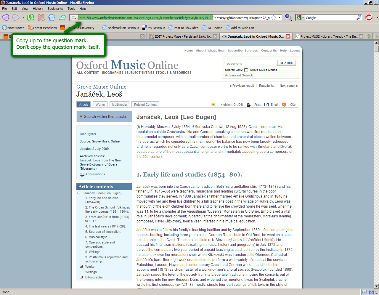 Oxford Music Online search screenshot showing how to get the persistent link: Copy (the address bar) up to the question mark, don't copy the question mark itself.
