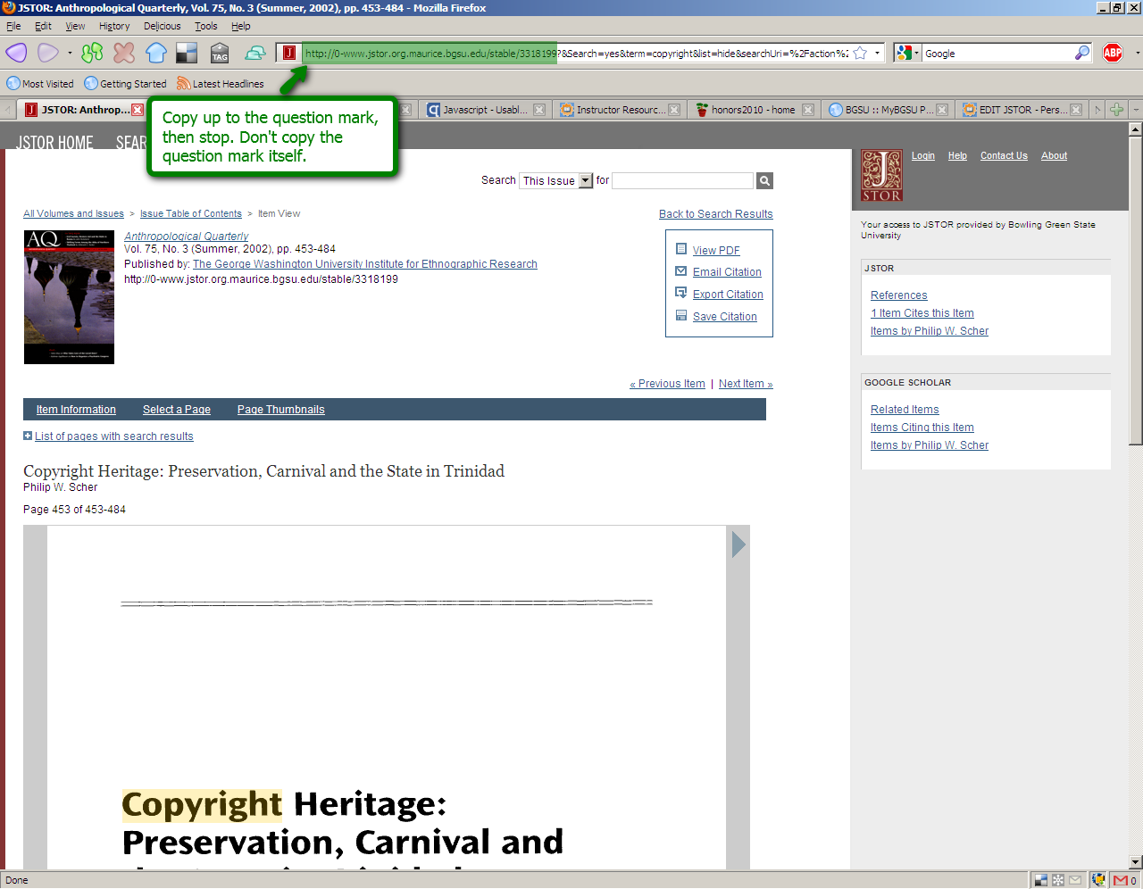 JSTOR search screen highlighting how to get a persistent link: Copy up to the question mark, then stop. Don't copy the question mark itself.