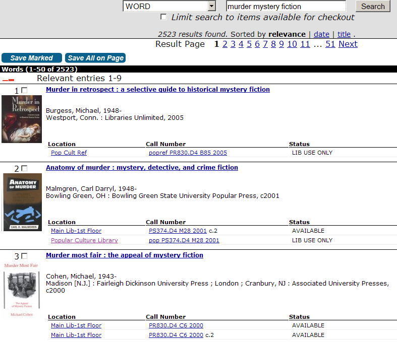 Search containing books about murder mysteries