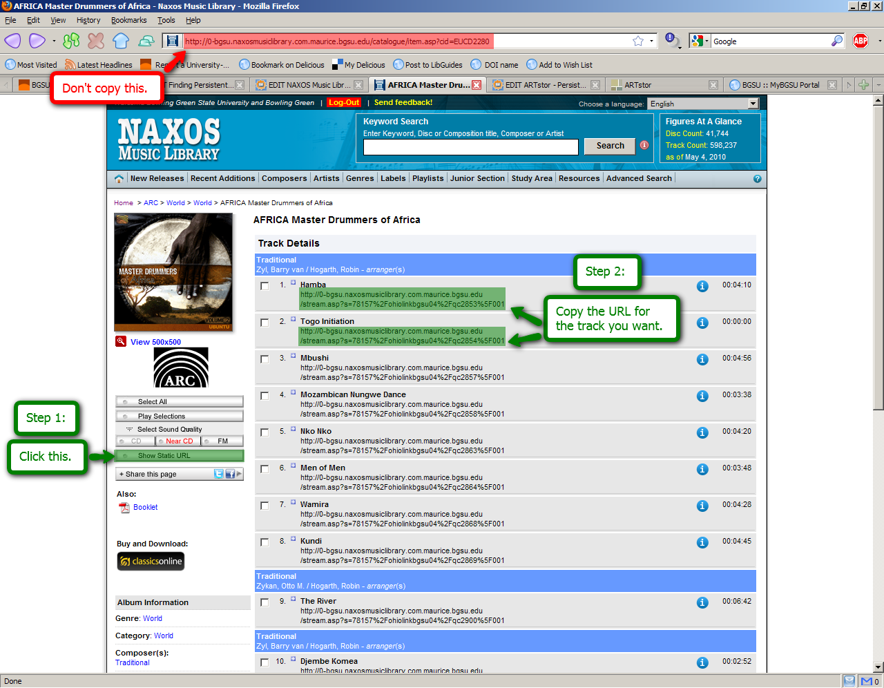 NAXOS Music Library screenshot highlighting the persistent link: Don't copy this (address bar), Click this (show static URL), Copy the URL for the track you want.