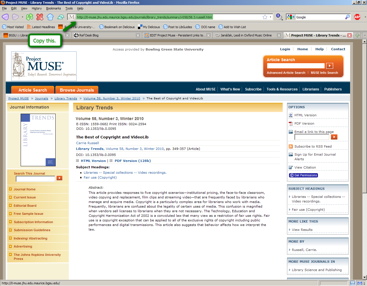 Project Muse search screen highlighting where to get the persistent link: Copy this (the address bar).