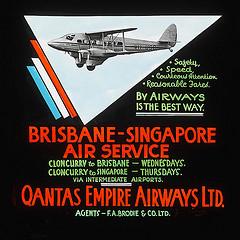 Historic airplane travel advertisement