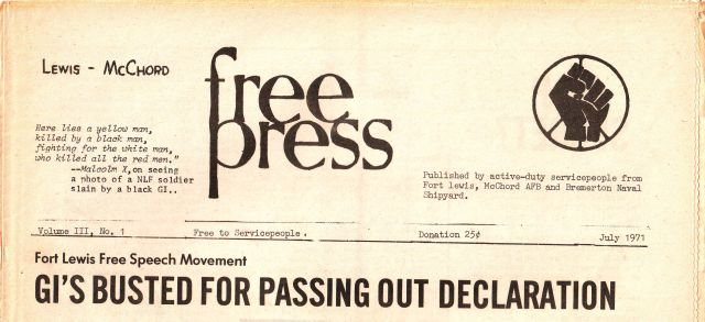 Ft. Lewis free press publication, 1971