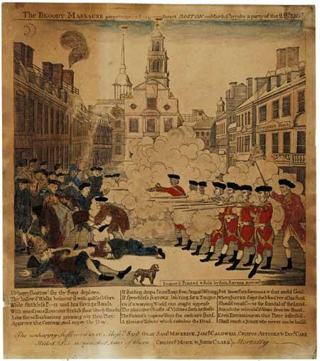 Paul Revere's 1770 drawing, The Bloody Massacre perpetuated in King - Street Boston on March 5th, 1770 by a party of the 29th Regiment
