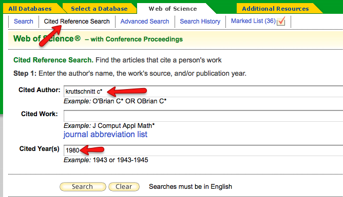 SSCI citation search