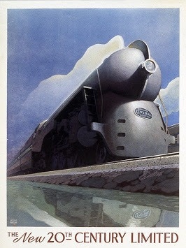 Poster Advertising the new 20th Century Limited Train by Leslie Ragan. 1938.