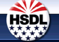 HSDL in the center of a circle with 12 blue stars underneath and 6 rays of red at the top against a blue background.