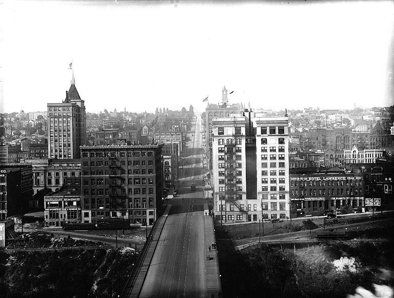 11th St. from the City Waterway, Tacoma, Washington, ca. 1916