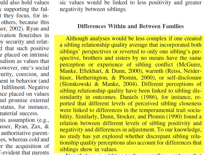 this is an image of a journal article with a highlighted section that shows references to the work of other researchers throughout the text, with their names and the year their research was published in parenthetical citations
