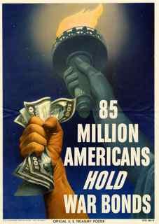 World War II poster, 85 million Americans hold war bonds