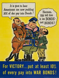 World War II poster, For victory, put at least 10% of every pay into war bonds!