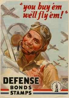 World War II poster, You buy 'em we'll fly 'em! Defense Bond Stamps