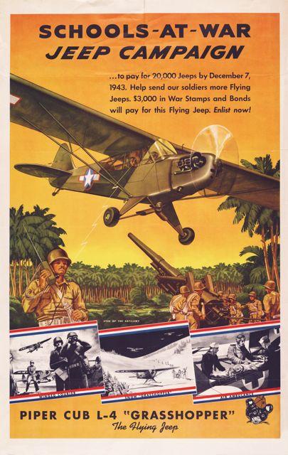 World War II poster, School at War Jeep Campaign