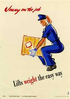 World War II poster, Jenny on the job, Lifts weight the easy way