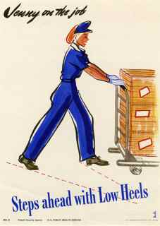 World War II poster, Jenny on the job, Steps ahead with low heels