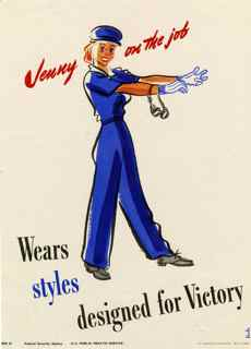 World War II poster, Jenny on the job, Wears styles designed for victory