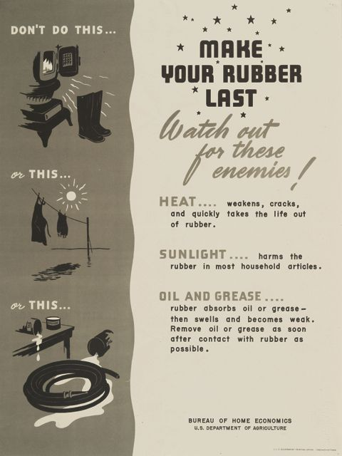 World War II poster on Rubber Conservation, Make your rubber last