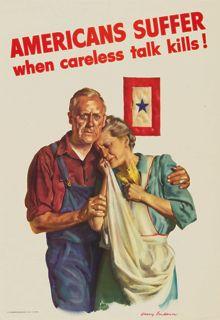 WWII Poster, Americans Suffer When Careless Talk Kills