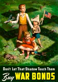 World War II poster, Don't let that shadow touch them. Buy war bonds