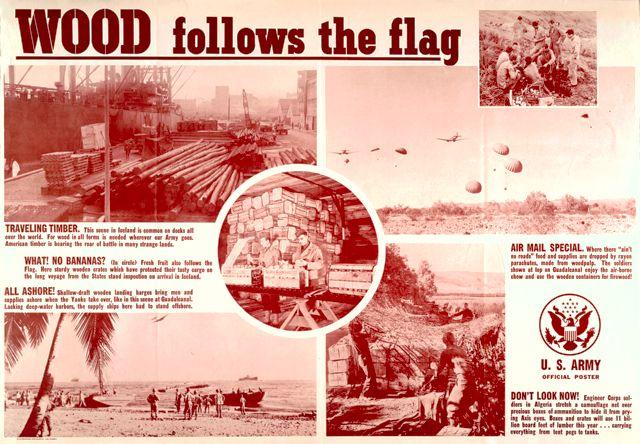 World War II poster, Wood follows the flag.