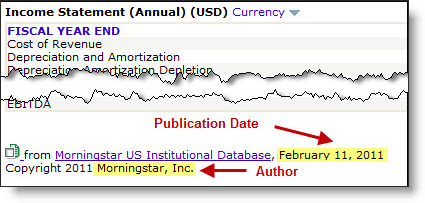 Graph and Citation Format for Annual Income Statement from Morningstar US Institutional Database