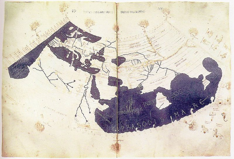 Ptolemy's World Map, circa 150 C.E., redrawn in 15th century; Britisyh Library Harley MS 7182 ff 58v-59