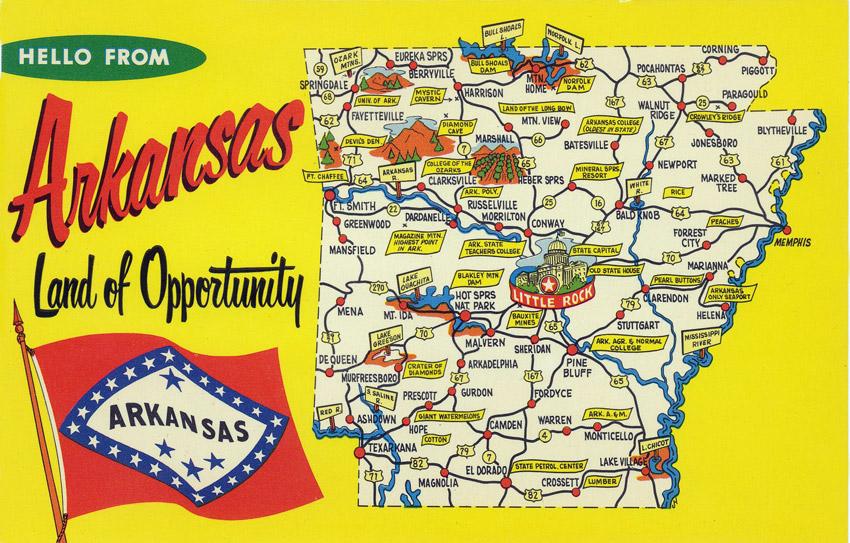 Arkansas map on a postcard