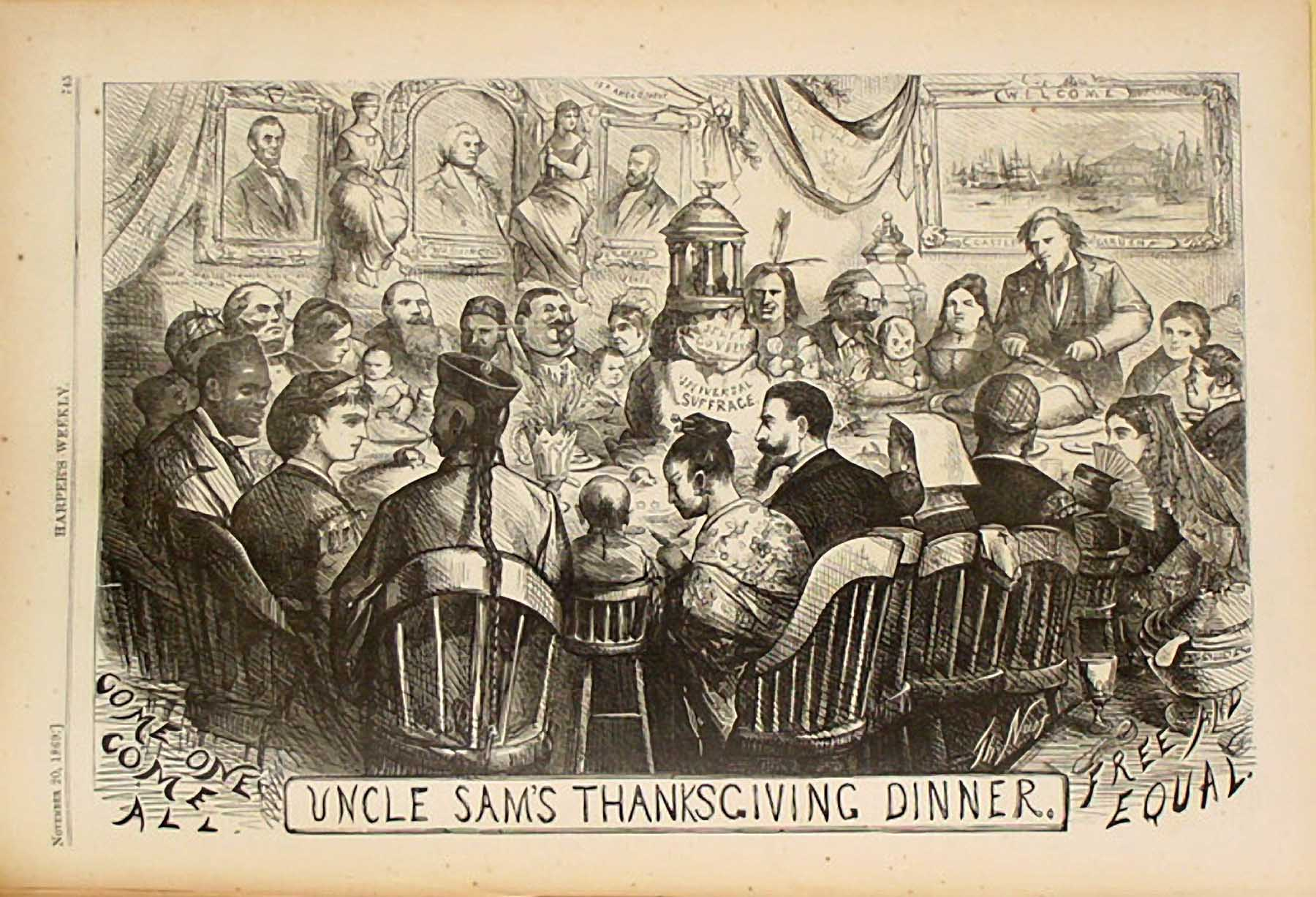 """Uncle Sam's Thanksgiving Dinner,"" Thomas Nast Cartoon for Harper's Weekly, November 20, 1868.  Source: HarpWeek"